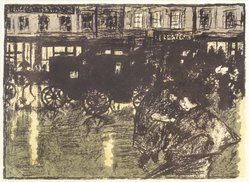 Pierre Bonnard (French, 1867-1947). Street at Evening in the Rain (Rue le soir, sous la pluie), 1896-1897. Color lithograph on wove paper, Image: 10 x 13 7/8 in. (25.4 x 35.2 cm). Brooklyn Museum, By exchange, 37.452. © artist or artist's estate