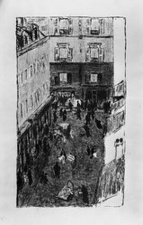 Pierre Bonnard (French, 1867-1947). Street Corner Seen from Above (Coin de rue vue d'en haut), 1896-1897. Color lithograph on wove paper, Image: 14 9/16 x 8 5/16 in. (37 x 21.1 cm). Brooklyn Museum, By exchange, 37.567. © artist or artist's estate