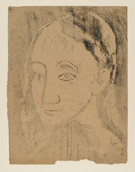 Pablo Picasso (Spanish, 1881-1973). Buste de Jeune Femme, 1906. Woodcut on wove paper pasted down on heavy rag board, Sheet: 22 1/8 x 18 1/8 in. (56.2 x 46 cm). Brooklyn Museum, 38.132. © artist or artist's estate