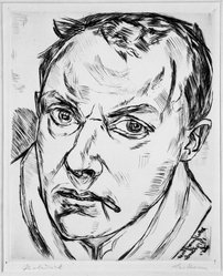 Max Beckmann (German, 1884-1950). Large Self-Portrait (Grosses Selbstbildnis), 1919. Drypoint on heavy wove paper, Image: 9 3/8 x 7 5/8 in. (23.8 x 19.4 cm). Brooklyn Museum, By exchange, 38.196. © artist or artist's estate
