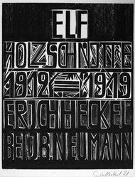 Erich Heckel (German, 1883-1970). Title Page of the Erich Heckel Portfolio Published by J.B. Neumann, Berlin (Titelblatt der Erich Heckel-Mappe des Verlages J.B. Neumann, Berlin), 1921. Woodcut on heavy wove paper, Image: 17 5/8 x 14 in. (44.8 x 35.6 cm). Brooklyn Museum, By exchange, 38.197. © artist or artist's estate