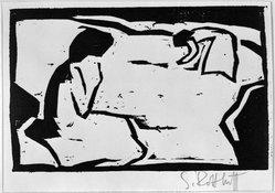 Karl Schmidt-Rottluff (German, 1884-1976). Woman Picking Flowers (Blumenflückende Frauen), 1910. Woodcut on wove paper, Image: 4 5/16 x 6 11/16 in. (11 x 17 cm). Brooklyn Museum, By exchange, 38.203. © artist or artist's estate