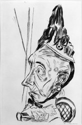 Max Beckmann (German, 1884-1950). Old Woman with Peaked Bonnet (Alte Frau mit Kapotthut), 1920. Etching on wove paper, Image (Plate): 11 3/4 x 7 11/16 in. (29.8 x 19.5 cm). Brooklyn Museum, By exchange, 38.204. © artist or artist's estate