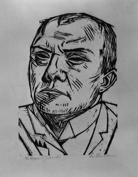 Max Beckmann (German, 1884-1950). Self-Portrait (Selbstbildnis), 1922. Woodcut on Japan paper, Image: 8 3/4 x 6 3/16 in. (22.2 x 15.7 cm). Brooklyn Museum, By exchange, 38.205. © artist or artist's estate