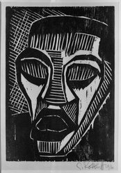 Karl Schmidt-Rottluff (German, 1884-1976). Man in Pain (Mann im Schmerz), 1916. Woodcut on wove paper, 10 1/4 x 7 1/8 in. (26 x 18.1 cm). Brooklyn Museum, By exchange, 38.210. © artist or artist's estate