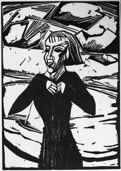 Erich Heckel (German, 1883-1970). Girl at the Sea (Mädchen am Meer), 1918. Woodcut on heavy wove paper, Image: 17 15/16 x 12 3/4 in. (45.6 x 32.4 cm). Brooklyn Museum, By exchange, 38.212. © artist or artist's estate
