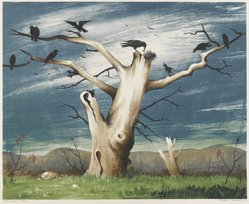 Russell T. Limbach (American, 1904-1971). The Crow Tree, 1938. Color lithograph on white wove paper, Sheet: 17 7/8 x 20 3/8 in. (45.4 x 51.8 cm). Brooklyn Museum, Dick S. Ramsay Fund, 38.224. © artist or artist's estate