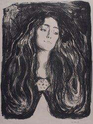 Edvard Munch (Norwegian, 1863-1944). Eva Mudocci, 1903. Lithograph on Japan paper, Image: 25 3/4 x 18 1/4 in. (65.4 x 46.4 cm). Brooklyn Museum, Charles Stewart Smith Memorial Fund, 38.253. © artist or artist's estate