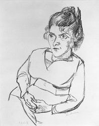 Max Beckmann (German, 1884-1950). Portrait of Woman with Hands Folded in Lap, possibly 1920. Lithograph on laid paper, Sheet: 16 9/16 x 12 5/16 in. (42.1 x 31.3 cm). Brooklyn Museum, By exchange, 38.254. © artist or artist's estate