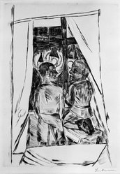 Max Beckmann (German, 1884-1950). Boys at a Window (Knaben am Fenster), 1922. Etching and drypoint on wove paper, Image (Plate): 12 5/8 x 8 7/8 in. (32.1 x 22.5 cm). Brooklyn Museum, By exchange, 38.255. © artist or artist's estate