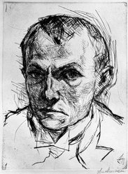 Max Beckmann (German, 1884-1950). Self-Portrait (Selbstbildnis), 1914. Drypoint on heavy wove paper, Image: 9 x 6 7/8 in. (22.9 x 17.5 cm). Brooklyn Museum, By exchange, 38.258. © artist or artist's estate
