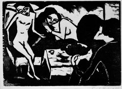 Erich Heckel (German, 1883-1970). In the Studio (Im Atelier), 1911. Woodcut on wove paper, Sheet (uneven): 17 3/4 x 12 13/16 in. (45.1 x 32.5 cm). Brooklyn Museum, By exchange, 38.265. © artist or artist's estate