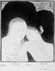 Maurice Denis (French, 1870-1943). Tendresse, 1893. Lithograph on wove paper, 11 13/16 x 9 7/8 in. (30 x 25.1 cm). Brooklyn Museum, Charles Stewart Smith Memorial Fund, 38.336. © artist or artist's estate