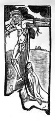 Émile Bernard (French, 1868-1941). Crucifixion, 1894. Woodcut on laid paper, 13 3/4 x 5 13/16 in. (35 x 14.7 cm). Brooklyn Museum, Charles Stewart Smith Memorial Fund, 38.375. © artist or artist's estate