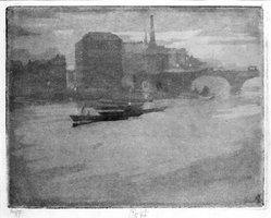 Joseph Pennell (American, 1860-1926). Mist on the Thames (La Tamise). Aquatint, Image: 8 1/4 x 10 3/8 in. (21 x 26.3 cm). Brooklyn Museum, Charles Stewart Smith Memorial Fund, 38.409. © artist or artist's estate
