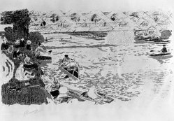 Pierre Bonnard (French, 1867-1947). Boating (Le Canotage), 1896-1897. Color lithograph on China paper, Image: 10 3/8 x 18 5/8 in. (26.4 x 47.3 cm). Brooklyn Museum, By exchange, 38.443. © artist or artist's estate