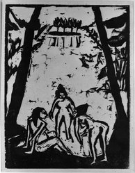 Erich Heckel (German, 1883-1970). Bathers at the Pond (Badende am Teich), 1910. Woodcut on heavy wove paper, Image: 7 13/16 x 6 in. (19.8 x 15.2 cm). Brooklyn Museum, By exchange, 38.784. © artist or artist's estate