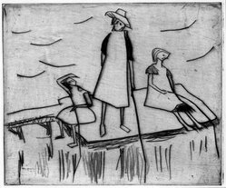 Erich Heckel (German, 1883-1970). Three Girls near the Water (Drei Mädchen am Wasser), 1912. Drypoint on heavy wove paper, Image (Plate): 5 7/8 x 7 in. (14.9 x 17.8 cm). Brooklyn Museum, By exchange, 38.785. © artist or artist's estate