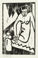 Karl Schmidt-Rottluff (German, 1884-1976). Girl with Vase of Flowers (Mädchen mit Blumenvase), 1911. Woodcut on wove paper, Image: 12 3/4 x 8 in. (32.4 x 20.3 cm). Brooklyn Museum, By exchange, 38.789. © artist or artist's estate