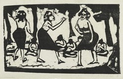 Erich Heckel (German, 1883-1970). Samoans (Samoanerinnen), 1911. Woodcut on laid paper, Image: 8 1/16 x 13 1/4 in. (20.5 x 33.7 cm). Brooklyn Museum, By exchange, 38.796. © artist or artist's estate