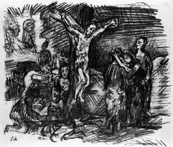 Oskar Kokoschka (Austrian, 1886-1980). Christ on the Cross (Christus am Kreuz), 1916. Lithograph on cream wove paper, Sheet: 13 1/4 x 16 1/16 in. (33.7 x 40.8 cm). Brooklyn Museum, By exchange, 38.881. © artist or artist's estate