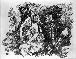 Oskar Kokoschka (Austrian, 1886-1980). Rest on the Flight into Egypt (Rast auf der Flucht nach Ägypten), 1916. Lithograph on cream wove paper, Sheet: 13 3/16 x 16 1/16 in. (33.5 x 40.8 cm). Brooklyn Museum, By exchange, 38.882. © artist or artist's estate