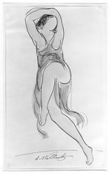 Abraham Walkowitz (American, born Siberia, 1878-1965). Isadora Duncan #8. Watercolor, pen, ink, pencil on paper, 14 x 8 1/2 in. (35.6 x 21.6 cm). Brooklyn Museum, Gift of the artist, 39.153. © artist or artist's estate