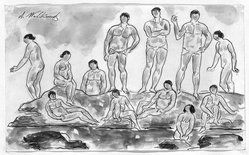 Abraham Walkowitz (American, born Siberia, 1878-1965). Bathers #2. Watercolor, pen, ink, pencil on paper, 5 1/2 x 9 in. (14 x 22.9 cm). Brooklyn Museum, Gift of the artist, 39.200. © artist or artist's estate