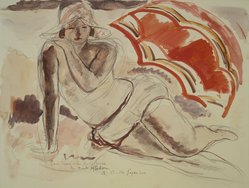 André Dunoyer de Segonzac (French, 1884-1974). Jeune Fille a l'Ombrelle Rouge, 20th century. Watercolor, Image: 24 5/16 x 29 7/16 in. (61.8 x 74.8 cm). Brooklyn Museum, 39.372. © artist or artist's estate