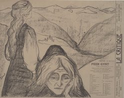 "Edvard Munch (Norwegian, 1863-1944). Drawing for ""Peer Gynt"" (Zeichnung zu ""Peer Gynt""), 1896. Lithograph on wove paper, Image: 9 15/16 x 11 11/16 in. (25.2 x 29.7 cm). Brooklyn Museum, Gift of Jean Goriany, 39.55. © artist or artist's estate"