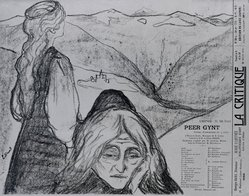 """Edvard Munch (Norwegian, 1863-1944). Drawing for """"Peer Gynt"""" (Zeichnung zu """"Peer Gynt""""), 1896. Lithograph on wove paper, Image: 9 15/16 x 11 11/16 in. (25.2 x 29.7 cm). Brooklyn Museum, Gift of Jean Goriany, 39.55. © artist or artist's estate"""