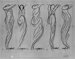 Abraham Walkowitz (American, born Siberia, 1878-1965). Dancer -- Five Line Drawings, n.d. Pen and ink on paper, Sheet (a): 6 3/4 x 2 1/16 in. (17.1 x 5.2 cm). Brooklyn Museum, Gift of the artist, 39.644a-e. © artist or artist's estate