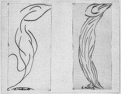 Abraham Walkowitz (American, born Siberia, 1878-1965). Dancer - Two Studies in Lines, n.d. Ink on paper mounted to paper, Sheet (mount): 8 1/2 x 10 15/16 in. (21.6 x 27.8 cm). Brooklyn Museum, Gift of the artist, 39.651a-b. © artist or artist's estate