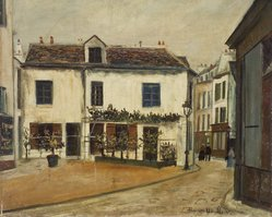 Maurice Utrillo (French, 1883-1955). Rue Norvins, Paris, 1918. Oil on cardboard mounted on cradled panel , 21 1/16 x 25 3/16 in. (53.5 x 64 cm). Brooklyn Museum, Frank L. Babbott Fund and Carll H. de Silver Fund, 40.13. © artist or artist's estate