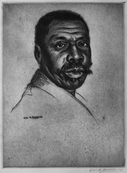 Elias M. Grossman (American, 1898-1947). Head of a Negro, 1939. Etching, trial proof on cream-colored wove paper, Plate: 11 15/16 x 87 5/8 in. (30.3 x 222.6 cm). Brooklyn Museum, Dick S. Ramsay Fund, 40.305. © artist or artist's estate