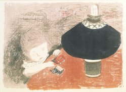 Pierre Bonnard (French, 1867-1947). Child in Lamplight (L'Enfant à la lampe), ca. 1897. Color lithograph on China paper, Image: 12 5/8 x 17 11/16 in. (32.1 x 44.9 cm). Brooklyn Museum, Charles Stewart Smith Memorial Fund, 40.344. © artist or artist's estate
