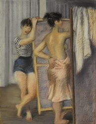 Raphael Soyer (American, born Russia, 1899-1987). Two Dancers, ca. 1935-1940. Pastel on grey wove paper, 24 1/4 x 18 1/8 in. (61.6 x 46 cm). Brooklyn Museum, Museum Collection Fund, 40.85. © Estate of Raphael Soyer