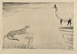 Joseph Hecht (Polish, 1891-1951). Jaguar and Llama, 1929. Engraving on wove paper, 9 1/16 x 13 9/16 in. (23 x 34.5 cm). Brooklyn Museum, Gift of William M. Lybrand, 40.940. © artist or artist's estate