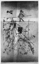 Paul Klee (Swiss, 1879-1940). Tightrope Walker (Seiltänzer), 1921. Color transfer lithograph in pink and black on laid paper, Image: 17 5/16 x 10 5/8 in. (44 x 27 cm). Brooklyn Museum, Brooklyn Museum Collection, 41.1005. © artist or artist's estate