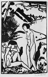 Erich Heckel (German, 1883-1970). At the Beach (Am Strand), 1923. Woodcut on wove paper, Image: 15 3/4 x 10 3/8 in. (40 x 26.4 cm). Brooklyn Museum, Brooklyn Museum Collection, 41.1007. © artist or artist's estate