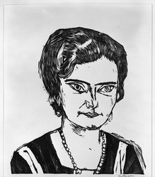 Max Beckmann (German, 1884-1950). Portrait of Frau H.M. (Naila) (Bildnis Frau H.M [Naila]), 1923. Woodcut on wove paper, Image: 13 5/8 x 12 15/16 in. (34.6 x 32.9 cm). Brooklyn Museum, Brooklyn Museum Collection, 41.1008. © artist or artist's estate