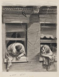 Lawrence Beall Smith (American, 1909-1995). The Gossips, 1938. Graphite and crayon on paper, Sheet: 14 7/16 x 11 7/8 in. (36.7 x 30.2 cm). Brooklyn Museum, Dick S. Ramsay Fund, 41.1166. © artist or artist's estate