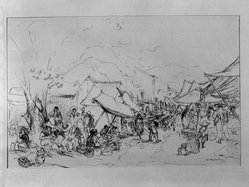 Ira Moskowitz (American, 1912-1985). Market with Pulque Drinkers, 1941. Pen and ink on paper, Sheet: 10 1/2 x 16 in. (26.7 x 40.6 cm). Brooklyn Museum, Gift of the artist, 41.1170. © artist or artist's estate