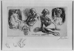 John Sloan (American, 1871-1951). Nude Sketches, 1917. Etching on wove paper, 14 1/4 x 19 5/16 in. (36.2 x 49 cm). Brooklyn Museum, Dick S. Ramsay Fund, 41.438. © artist or artist's estate