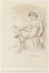 John Sloan (American, 1871-1951). Nude on Chair, Legs Crossed, ca. 1926-1938. Sanguine conte crayon on cream, thin, smooth wove paper, Sheet: 13 7/8 x 9 5/16 in. (35.2 x 23.7 cm). Brooklyn Museum, Dick S. Ramsay Fund, 41.440. © artist or artist's estate