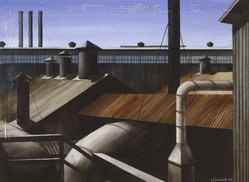 Edmund D. Lewandowski (American, 1914-1998). Industrial Composition, 1939. Watercolor over graphite on off-white, moderately thick, rough-textured wove paper, 21 15/16 x 29 15/16 in. (55.7 x 76 cm). Brooklyn Museum, Dick S. Ramsay Fund, 41.513. © artist or artist's estate