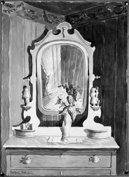 Hobson Pittman (American, 1900-1972). The Bureau. Watercolor on paper, 23 3/8 x 17 in. (59.4 x 43.2 cm). Brooklyn Museum, Gift of Jane Mintzer Longmire, by exchange, 41.814. © artist or artist's estate
