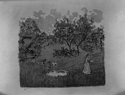 Pierre Bonnard (French, 1867-1947). The Orchard (Le Verger), 1899. Color lithograph on China paper, Image: 13 1/8 x 14 1/8 in. (33.3 x 35.9 cm). Brooklyn Museum, By exchange, 41.973. © artist or artist's estate