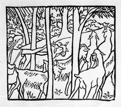 Aristide Maillol (French, 1861-1944). [Untitled] (Daphnis Driving Home His Flock), 1937. Woodcut on handmade laid paper, Sheet: 7 3/4 x 5 1/8 in. (19.7 x 13 cm). Brooklyn Museum, Charles Stewart Smith Memorial Fund, 42.10.27. © artist or artist's estate