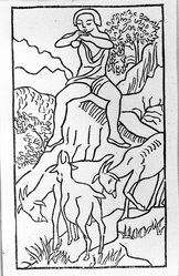 Aristide Maillol (French, 1861-1944). [Untitled] (Daphnis Plays to His Goats), 1937. Woodcut on handmade laid paper, Sheet: 7 5/8 x 5 1/8 in. (19.4 x 13 cm). Brooklyn Museum, Charles Stewart Smith Memorial Fund, 42.10.41. © artist or artist's estate